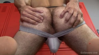 Furry Jockstrap Butt in Locker Room