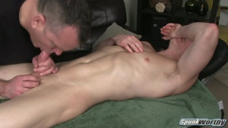 Cute Blond's Massage Table Blowjob