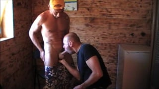 Bald Cocksucker Servicing a Monster Cock