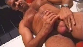 Hairy Daddy Stroking his Cock