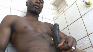 Hung Bald Black Stud Jacks Big Hard-on