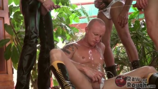 Bald Hunk's Group Piss Play