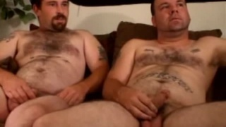 Hairy Married Buddies Stroking Each Other