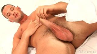 Ripped Euro Dude Jacking Foreskin Cock