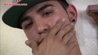 Latino in Ball Cap Strokes Fat Dick
