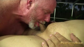 Bald Cocksucker Blowing Big-Bellied Bear