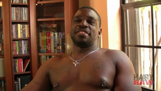 Beefy Black Cub Strokes his Dick
