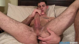 Hairy-Legged College Stud Jacking Off