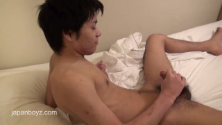 Japanese Twink Showers and jacks Off