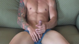 Hot Tattooed Guy's First Solo