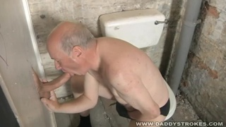 Grandpa Sucking Cock in Toilet