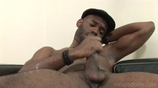 Black Dude in Hat Jacking Off