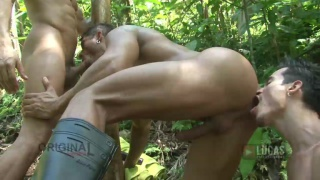 D.O., TIZIANO, AND DIEGO FUCK in Jungle