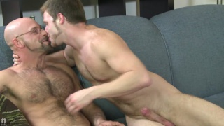 Hairy Bald Man's First Time Sucking Dick