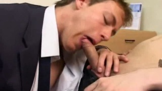 Twinks in Suits Fuck at Office