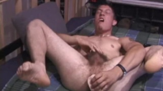 Guy with Bushy Pubes Masturbating