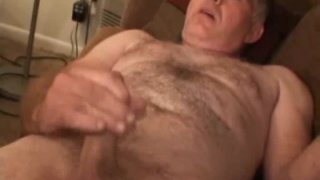 Macho Hairy Daddy Jerks Off