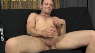 Guy Jacking with Masturbation Sleeve