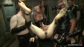 Rubber Men Gang Bang a Sling Slut