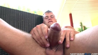 Tugging His Fat Uncut Cock