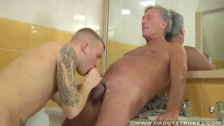 Cock-Hungry Lad Sucking Daddy Cock