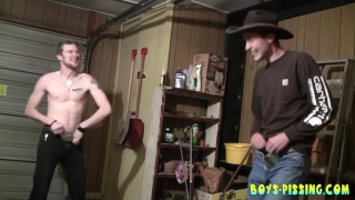 Straight Cowboys Pissing & Pulling their Dicks