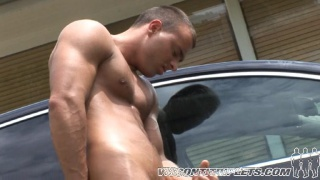 Triplet washes a car