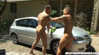 Cock sucking gay guys at the car wash