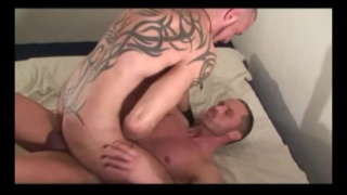 tattooed german gives his bottom cum