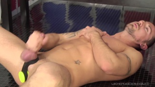 dildo fucking muscle hunk in locker room