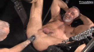 silver daddy gets hole stuffed with cock and fist