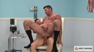 handsome hunky doctor rides his blond patient's cock