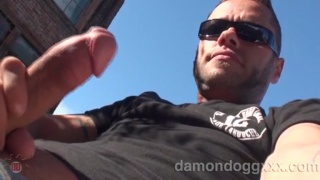 damon dogg blowing a cum wad on roof