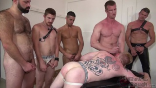 leather boy begs to be gang banged