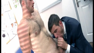 suited young exec fucked by hairy workman