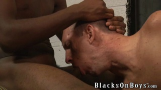 gulping down a big black cock