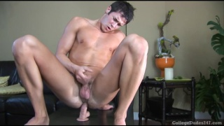 College boy's first dildo experience