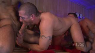 bareback threeway in sauna