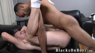 bottom in white socks takes black dick