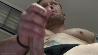 sexy johnny stroking his big-nobbed dick