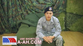 Latino Airman Jacking Off