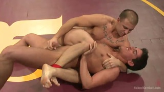 Jett Jax and Eli Hunter wrestling and fucking