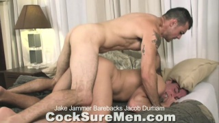 ramming his long cock in bottom's hole