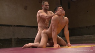 wrestler gets big bubble butt fucked on the mats