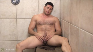 furry-chested hunk jacking in shower