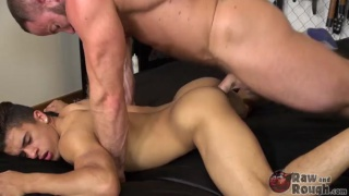 muscle daddy breeding his boy's hot little ass