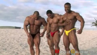Three bodybuilders on the beach
