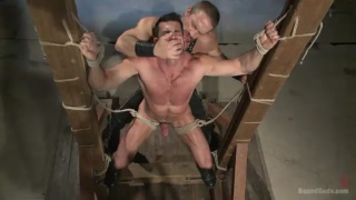 roped up hairy hunk gets a nasty fuck