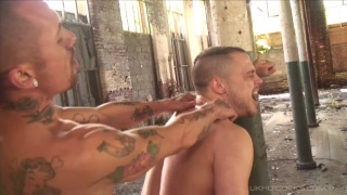 lured to an abandoned building, guy gets fucked