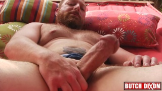 bearded cock pig jacks off outdoors